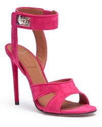 Givenchy - Fucshia Suede Sandals Shark Lock Sandals - Lyst