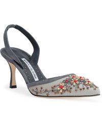 Manolo Blahnik - Zaukalyne 70 Grey Slingback Court Shoes - Lyst
