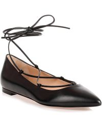 Gianvito Rossi - Black Leather Lace Up Femi' Flat - Lyst