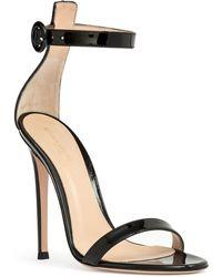 Gianvito Rossi - Portofino 115 Black Patent Leather Sandals - Lyst