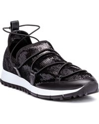 Jimmy Choo - Andrea Black Sequin Sneakers - Lyst