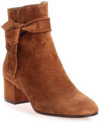 Gianvito Rossi - Leslie Brown Suede Ankle Boot Us - Lyst