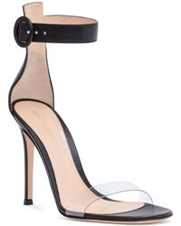 Gianvito Rossi - Stella 105 Black Plexi Leather Sandals - Lyst