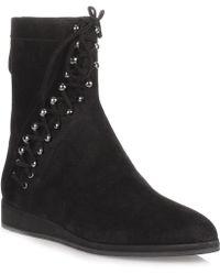 Alaïa - Black Suede Lace-up Ankle Boot Us - Lyst