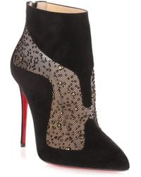 Christian Louboutin - Papilloboot 100 Black Suede Mesh Boot Us - Lyst