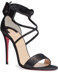 Christian Louboutin - Choca 100 Black Suede Sandals - Lyst
