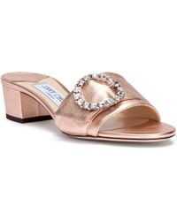 cabce2f40a80 Jimmy Choo - Granger 35 Metallic Rose Gold Leather Sandals - Lyst