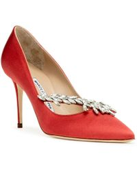 8a7573a7d15 Manolo Blahnik - Nadira 90 Red Satin Court Shoes - Lyst