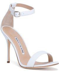 Manolo Blahnik - Chaos 105 White Leather Sandals - Lyst