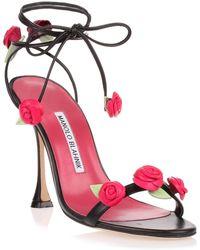 Manolo Blahnik - Xafiore Black Leather Rose Sandal Us - Lyst