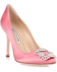 Manolo Blahnik - Hangisi Satin Pump Pink Clear Crystals Us - Lyst