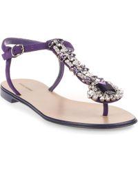 Manolo Blahnik - Esfiratomod Flat Purple Suede Sandal Us - Lyst