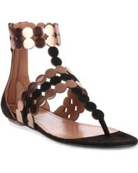 Alaïa - Black Suede And Metallic Leather Sandal Us - Lyst