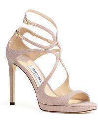 Jimmy Choo Lance 100 Ballet Pink Glitter Sandals