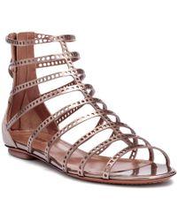 Alaïa - Metallic Laser-cut Leather Sandals - Lyst