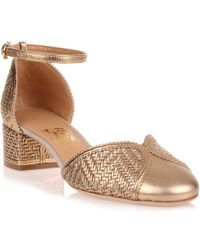 Ferragamo Edda Metallic Gold Leather Sandal Us