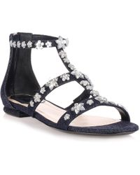 Dior - Garland Blue Denim Flat Sandal - Lyst