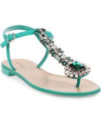 Manolo Blahnik - Esfiratomod Flat Emerald Suede Sandal - Lyst
