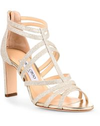 Jimmy Choo Selina 85 Dusty Glitter Sandals