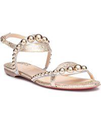 Christian Louboutin - Galeria Flat Vintage Platinum Sandals - Lyst