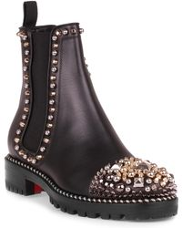 Christian Louboutin - Chasse A Clou Black Leather Boot Us - Lyst