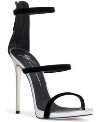 Giuseppe Zanotti - Harmony 120 Black Velvet Sandals - Lyst