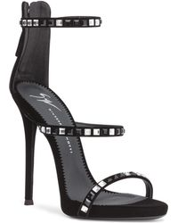 Giuseppe Zanotti - Harmony 120 Black Velvet And Crystal Sandals - Lyst