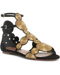 Alaïa Black Suede Gold Raffia Flat Sandals