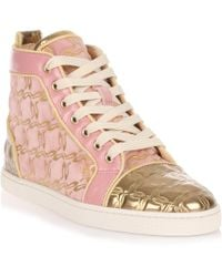 Christian Louboutin - Bip Bip Pink And Gold Suede Sneaker Us - Lyst