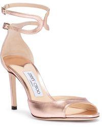 Jimmy Choo - Lane 85 Metallic Rose Gold Sandals - Lyst