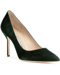 Manolo Blahnik - Bb 90 Green Suede Court Shoes - Lyst