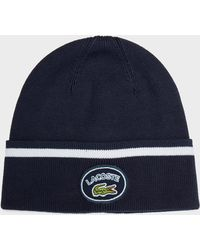 Lacoste - Knitted Retro Logo Beanie - Lyst