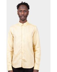 Norse Projects - Yellow Osvald Linen Shirt - Lyst