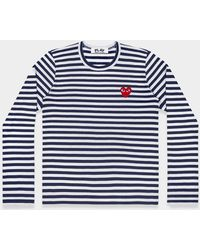 COMME DES GARÇONS PLAY - Navy And White Play Striped Long Sleeve T-shirt With Red Heart - Lyst
