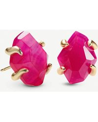 Kendra Scott Inaiyah 14ct Gold-plated And Pink Agate Earrings