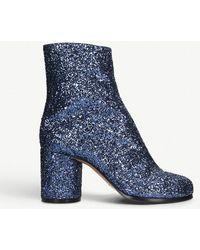 Maison Margiela - Tabi Glitter Leather Ankle Boots - Lyst