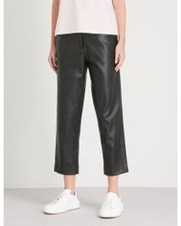 Kitri - Calley Straight Cropped Faux-leather Trousers - Lyst