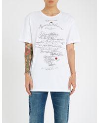 Alexander McQueen - Handwriting Print Cotton-jersey T-shirt - Lyst