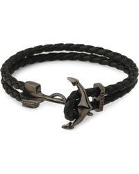 Nialaya - Anchor Braided Leather Bracelet - Lyst
