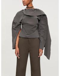 Awake - Backless Draped Cotton Top - Lyst
