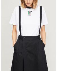 Mini Cream - Avocado-embroidered Cotton-jersey T-shirt - Lyst