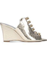 Gina - Marlina Metallic-leather Swarovski-embellished Wedge Sandals - Lyst