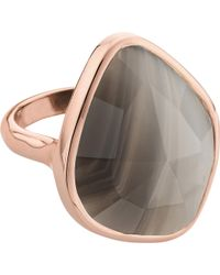 Monica Vinader - Siren 18ct Rose Gold Vermeil And Grey Agate Nugget Ring - Lyst
