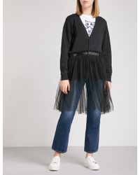5cm | Flared-hem Cotton And Tulle Cardigan | Lyst