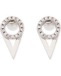 Astrid & Miyu - Fitzgerald Rhodium Ear Jackets - Lyst
