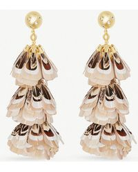 Kendra Scott - Lenni 14ct Gold-plated And Ivory Feather Tassel Earrings - Lyst