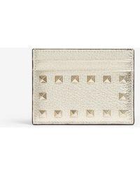 Valentino - Rockstud Metallic Leather Card Holder - Lyst