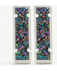 Kendra Scott - Lady Rhodium-plated And Multi-coloured Drusy Bar Earrings - Lyst