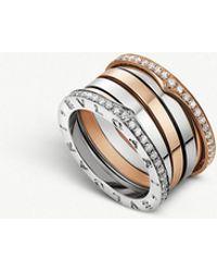 BVLGARI - B.zero1 18ct Rose And White-gold Band Ring - Lyst