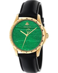 Gucci - G-timeless Yellow-gold Pvd And Leather Watch - Lyst